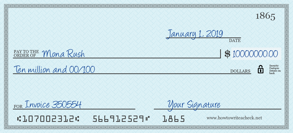 How to Write a Check for 10000000 Dollars