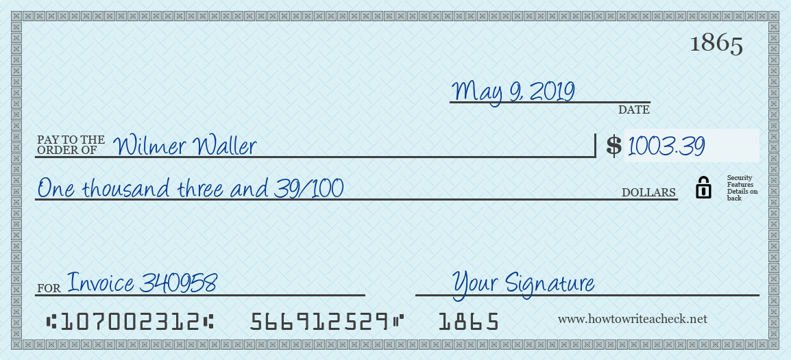 How to Write a Check for 1003.39 Dollars
