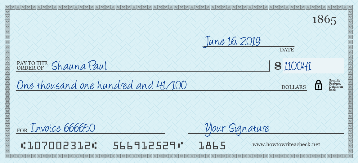 How to Write a Check for 1100.41 Dollars