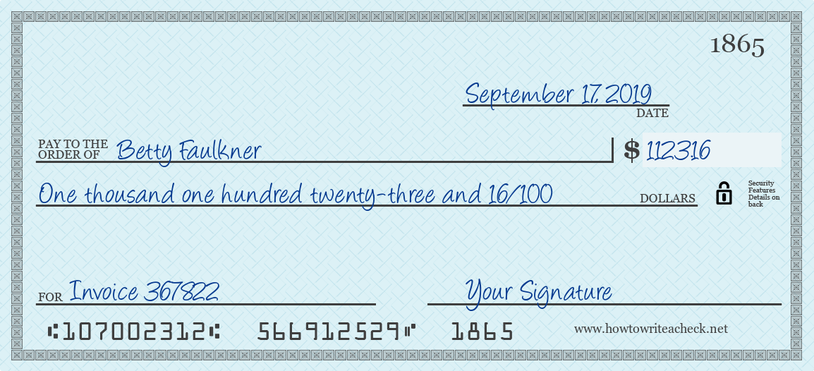 How to Write a Check for 1123.16 Dollars
