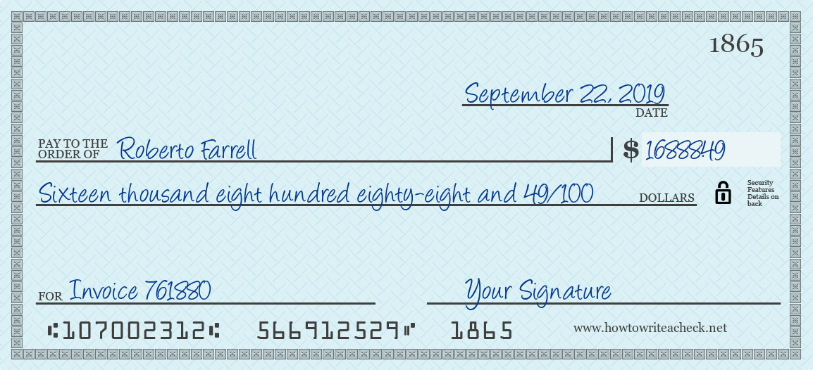 How to Write a Check for 16888.49 Dollars