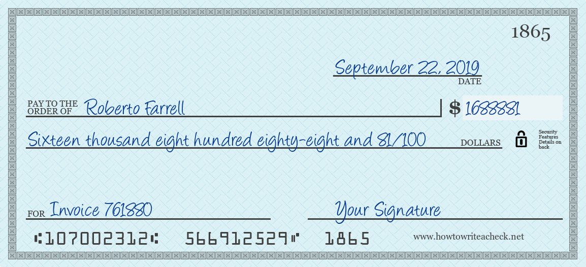 How to Write a Check for 16888.81 Dollars