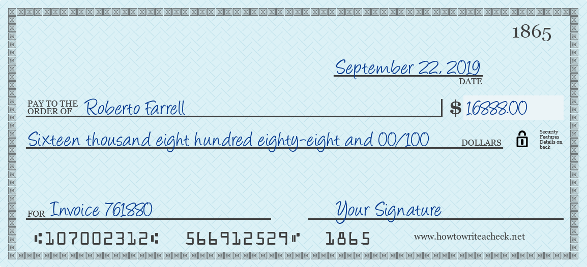 How to Write a Check for 16888 Dollars