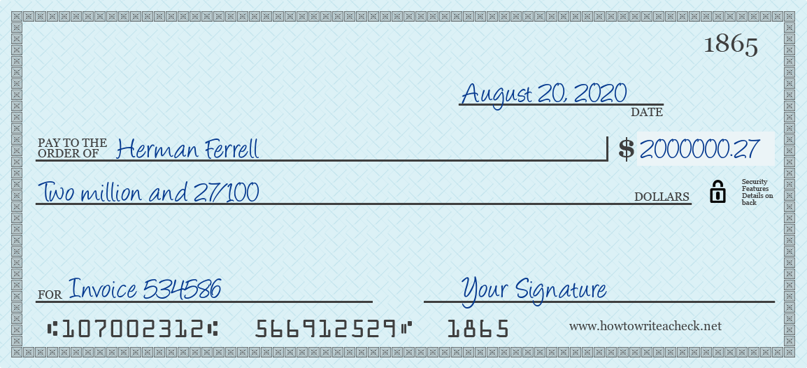 How to Write a Check for 2000000.27 Dollars