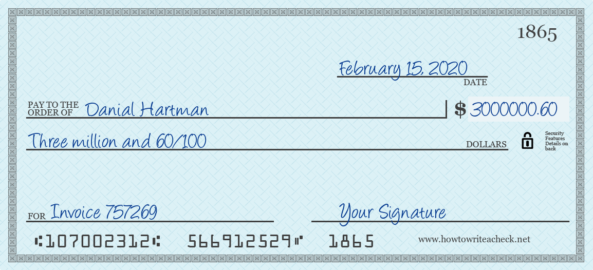 How to Write a Check for 3000000.60 Dollars
