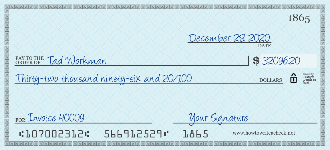 How to Write a Check for 32096.20 Dollars