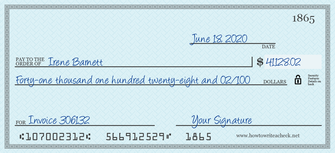 How to Write a Check for 41128.02 Dollars