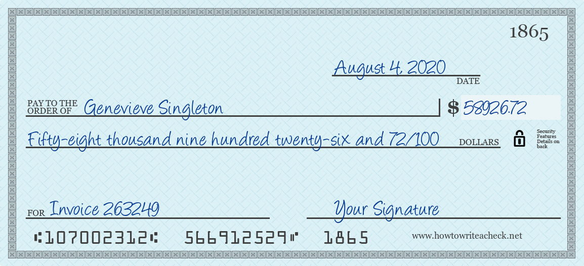 How to Write a Check for 58926.72 Dollars