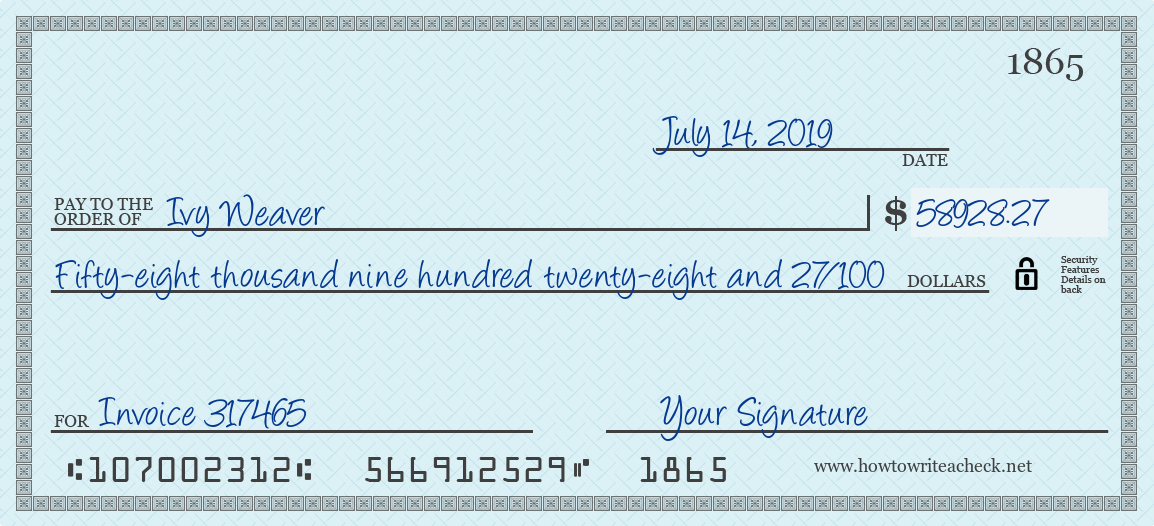 How to Write a Check for 58928.27 Dollars