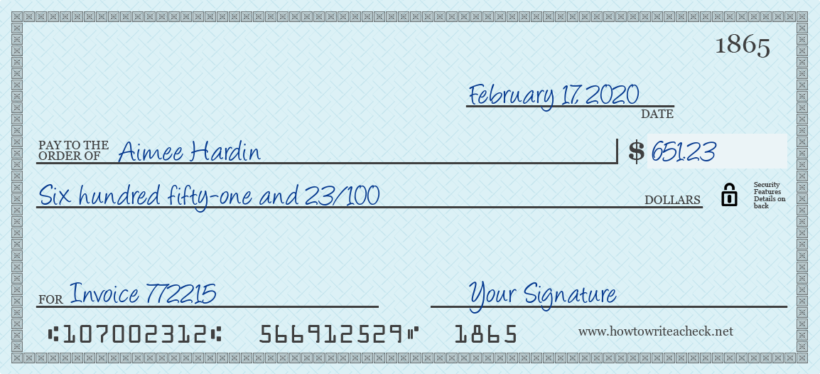 How to Write a Check for 651.23 Dollars