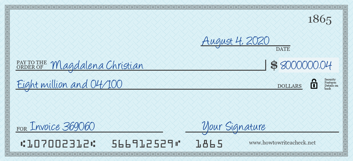 How to Write a Check for 8000000.04 Dollars