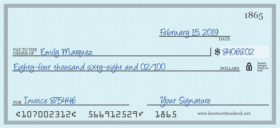 How to Write a Check for 84068.02 Dollars