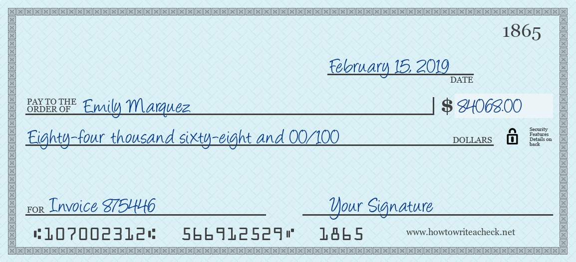 How to Write a Check for 84068 Dollars