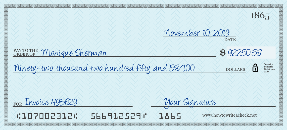 How to Write a Check for 92250.58 Dollars