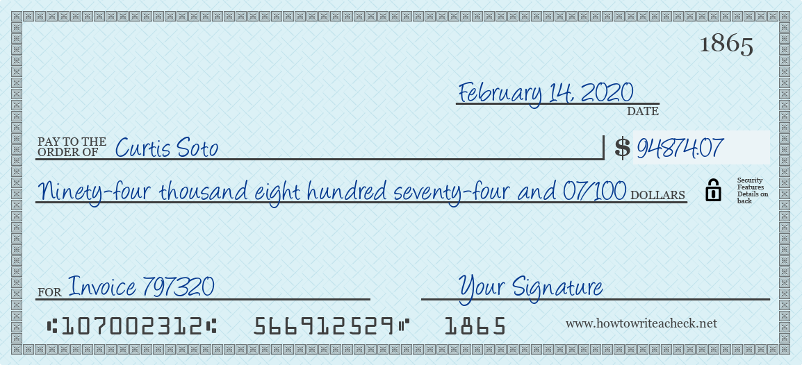 How to Write a Check for 94874.07 Dollars