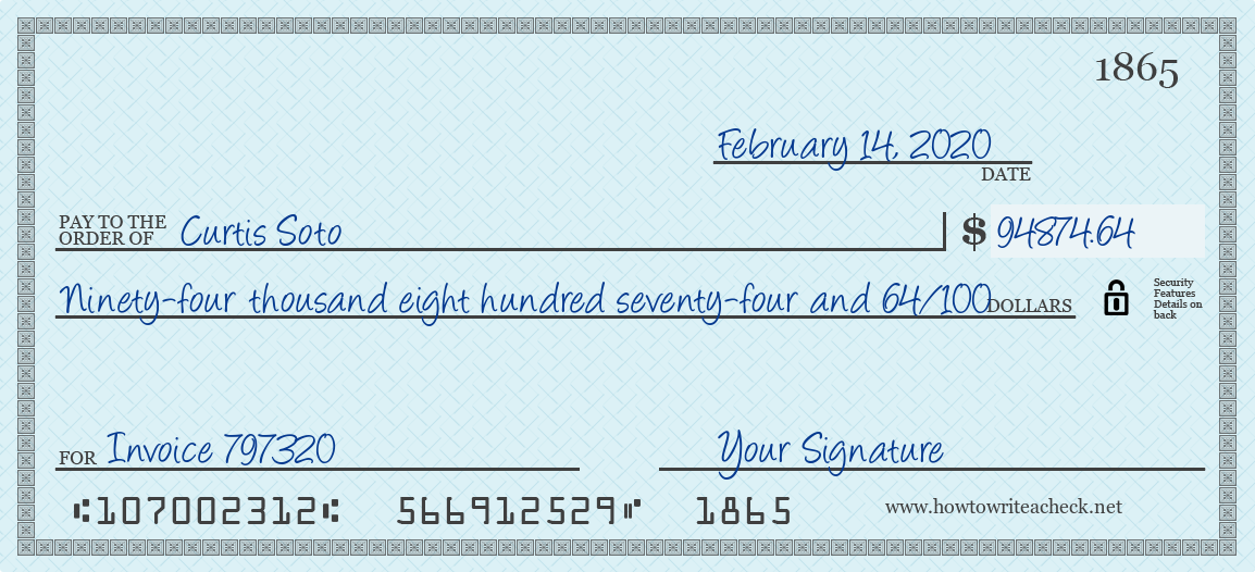 How to Write a Check for 94874.64 Dollars