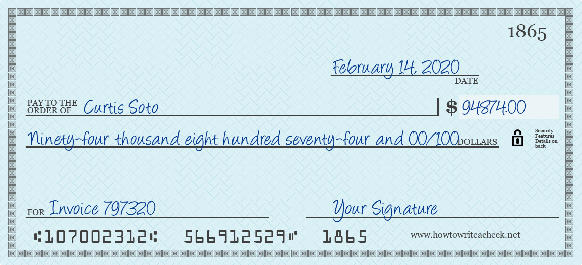 How to Write a Check for 94874 Dollars