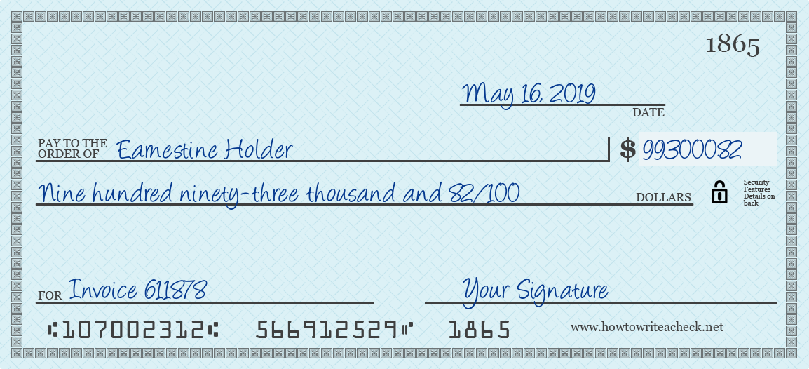 How to Write a Check for 993000.82 Dollars