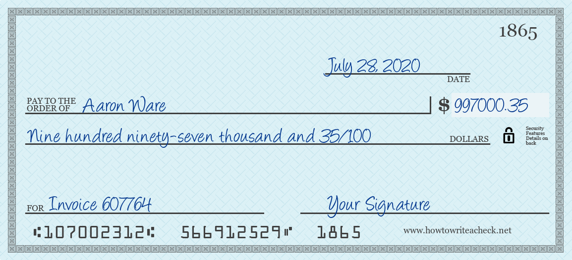 How to Write a Check for 997000.35 Dollars