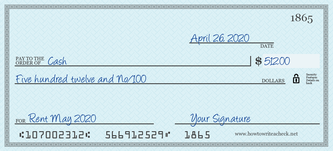How to Write a Check for Cash